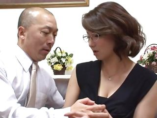 Milf teacher Mio looks like one of those severe teachers that will spank you if you misbehave. Actually Mio is quite a nice teacher and she spreads her thighs on that couch, offering her cunt to anyone that's able to satisfy her. She gets her big boobs squeezed and moans while that guy fingers and licks her pussy