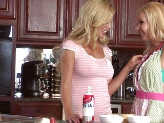 These two beautiful blondes are having a little fun in the kitchen and they are undressing so they can lick each other. Look at those hot naughty boobs, their long blonde curly hair and sexy legs that they love to spread. It's not long before they go in bed and start the real play, will a guy come in and give them their semen or this a girl only thing?
