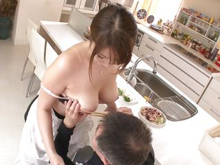 All that was needed was to approach her man and give him a better look at her boobs squeezed in that bra. He started to grope them and lick her hard nipples. Seeing her guy so turned on by her tits Hitomi knelt in front of him and took out his cock with pleasure and a smile on her face. She's happy to suck it.
