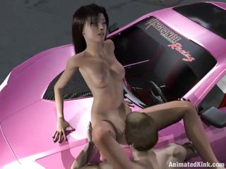 This 3D cartoon slut gets her pussy eaten on the hood of a car in the middle of the street. She moves and moans as he tongues her, then takes his big dick in her twat. He fucks her hard, then bends her over, plowing her snatch deep. This sure isn't the Saturday morning cartoons you grew up with!