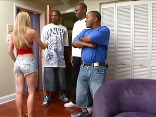 Watch these three cop guys having a date with three beautiful ladies. Two of them are brunette ebony babes and the other one is a white blonde chick. They get naked showing their nice hot bodies and changes dresses. Meanwhile they had little lesbian fun too. Then the guys arrived. let's see what happens!