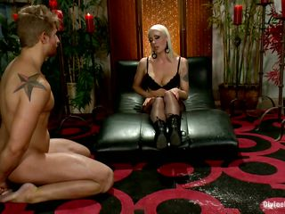 Watch this pathetic slave Logan Vaughn getting punished by his mistress Lorelei Lee. This blonde milf loves to be dominating and kinky! Watch how she puts him in bondage and keeps teasing him in different ways. She strips slowly and touches herself to excite him and make him lick her boots. What a bitch!