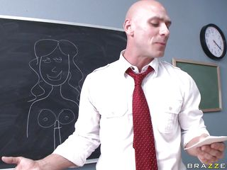 Diamond Kitty is the only other student in class, who just finished her biology presentation on the tits. Johnny gets up front and does his on the penis. Diamond gets excited about this, getting her jugs out, rubbing and fingering her pussy as he does. The teacher gets onto her about being noisy.