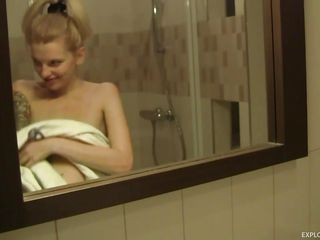 Scout is a gorgeous blonde that loves to have fun no matter where she is. Watch her naked in the bathroom as she gets on her knees and slowly starts sucking that guys big hard cock. You can see how much she enjoys having a big hard dick between her juicy lips. Do you think he will cum in her mouth?
