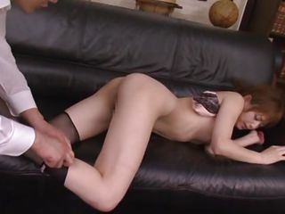 Akiho is on the couch and her pussy receives a fingering from the man before he licks it. He drives her crazy with his pussy licking and makes her want to suck his penis. Look at her pretty face and that cute mouth stuffed with cock and what about her sexy back on which he puts photos while fucking her