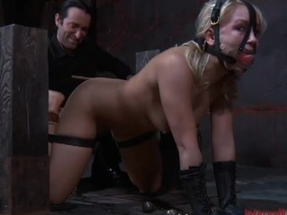 Restrained chick acquires wild toy inculcate for her cunt