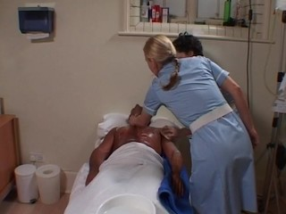 Two horny nurses cleaning and washing a guy