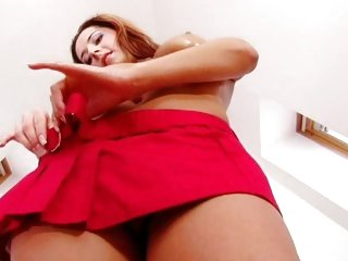 Alluring Daria Glower takes off her mini skirt